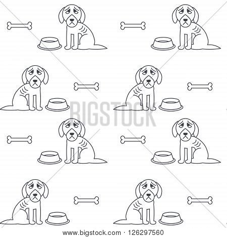 Poor unhappy dogs sit near empty bowls. Hungry bony dogs. Vector line seamless pattern black on white background.