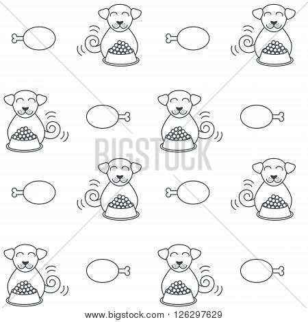 Happy dogs sit near full bowls of foods. Eating dogs. Vector line seamless pattern black on white background.