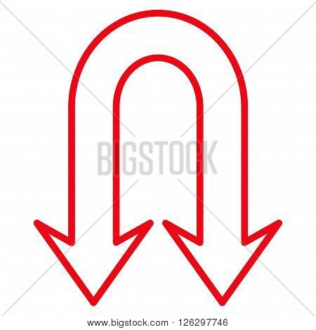 Back Arrows vector icon. Style is contour icon symbol, red color, white background.
