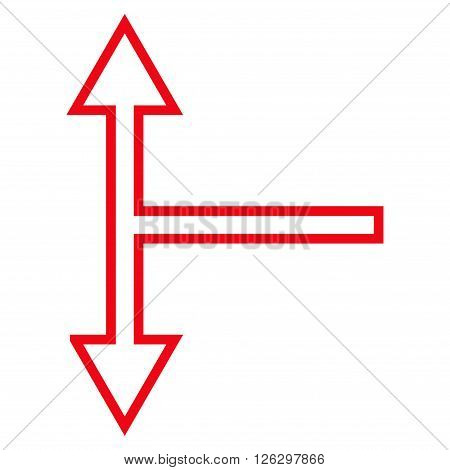 Bifurcation Arrow Up Down vector icon. Style is thin line icon symbol, red color, white background.