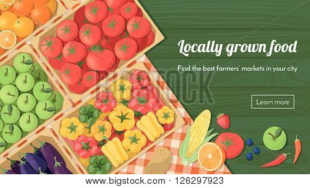 Colorful freshly harvested vegetables in crates at the farmers market locally grown food and healthy eating concept banner