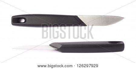 Steel kitchen knife with the black plastic handle isolated over the white background, set of two different foreshortenings