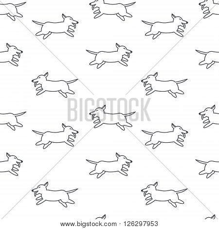 Many happy running dogs. Welsh corgi breed. Dog adoption concept. Vector line seamless pattern black on white background.
