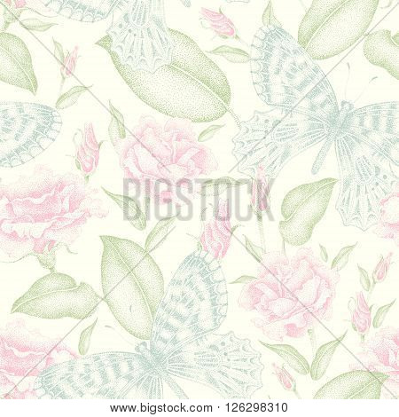 Seamless vector floral pattern. Flowers and butterflies. Illustration of flowers in the Victorian style. Vintage ornament of flowers and butterflies. Roses and exotic butterflies in soft colors.