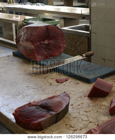 Raw uncooked tuna fish for sale at the fish market in Funchal Madeira Portugal