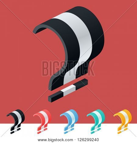 3D trendy and stylish  graphic vector stripped  alphabet. Optional different colors. Symbol 2