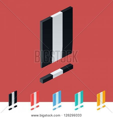 3D trendy and stylish  graphic vector stripped  alphabet. Optional different colors. Symbol 3