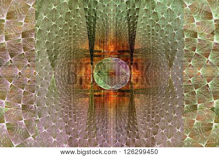 Abstract intricate background of green and purple fractal spheres