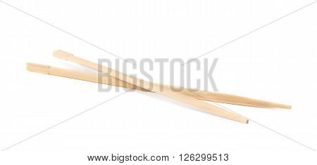 Set of chinese wooden chopsticks sticks isolated over the white background