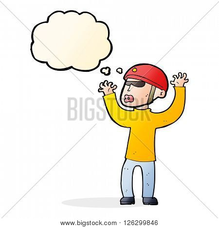 cartoon security man panicking with thought bubble