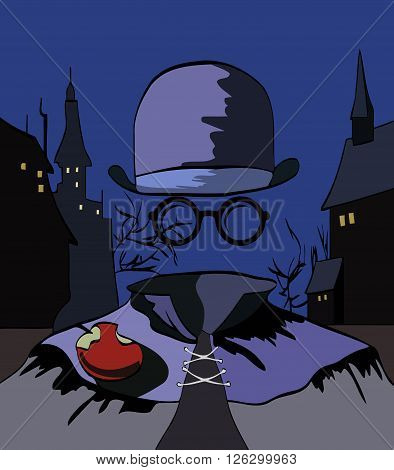 sketch of a man in an invisible hat, sunglasses, eating apple on the background of the night city buildings