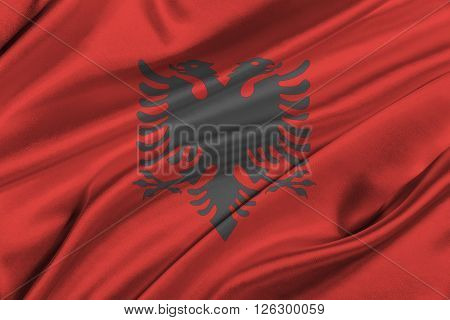Flag of Albania waving in the wind.