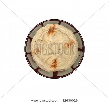 Hummus in Traditional Lebanese Plate Isolated