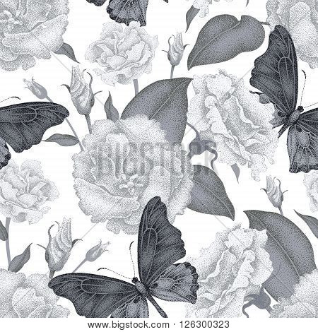 Seamless vector floral background. Flowers and butterflies. Illustration of flowers in Victorian style. Vintage pattern of flowers and butterflies. Flowers roses and butterflies on white background.