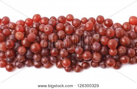 Decorative border line made of multiple dark red grapes isolated over the white background