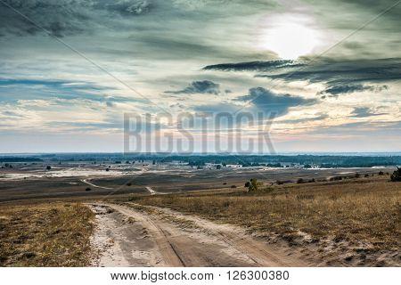 scenic view of Kharkov desert in autumn, Ukraine
