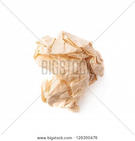 Crumpled ball of brown wrapping paper isolated over the white background