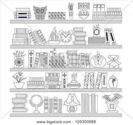 vector illustration on white Background with books on the Bookshelves - Illustration in Sketch style for coloring book page design.