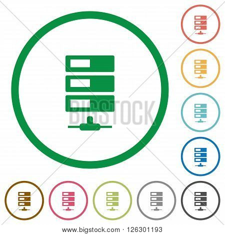 Set of data network color round outlined flat icons on white background