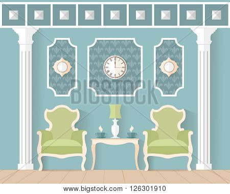 living room in classic style. Interior design in flat style. Vector illustration. Reception waiting room lounge in blue color.