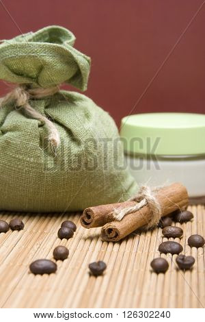 Ingredients for spa coffee, cinnamon, sea salt and cream