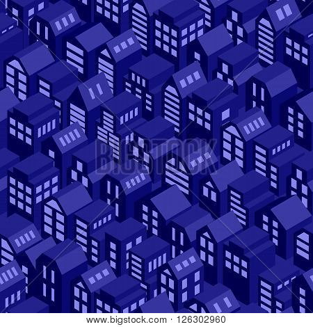 Night roofs seamless pattern. Vector background with isometric town houses.