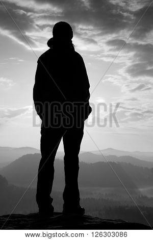 Girl  Stand On The Sharp Corner Of Sandstone Rock In Rock Empires Park