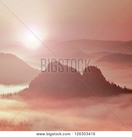 Fantastic Dreamy Daybreak Above Peaks Of Smoky Mountain With The View Into Misty Valley
