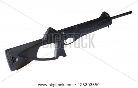 Polymer stocked semi automatic carbine isolated on white