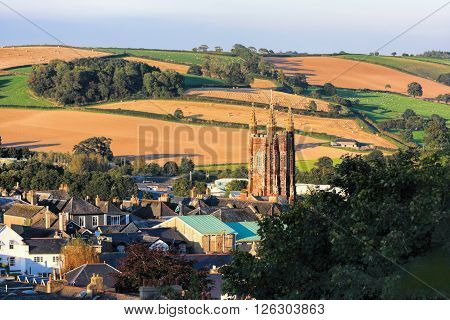 Church In Totnes Against Countryside In England, Uk