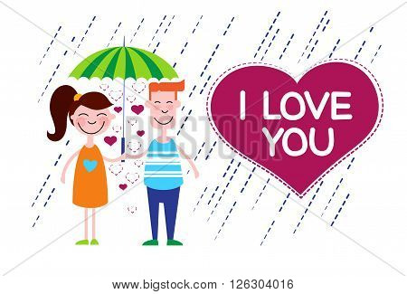 Couple Love Under Umbrella Heart Shape Vector Illustration