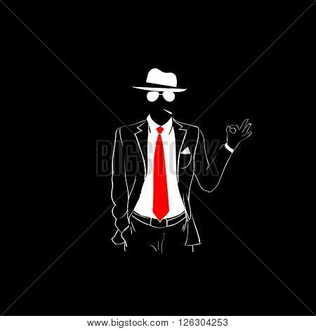 Man Silhouette Suit Red Tie Wear Glasses White Hat Okay Hand Gesture Black Background Contour Outline Vector Illustration