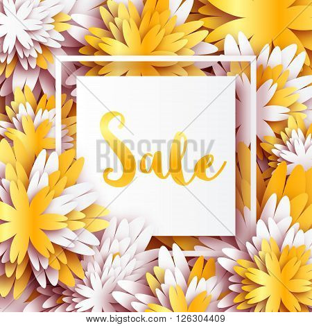 Golden Foil Spring Summer Sale banner with frame for business. Applique Card with origami flowers. Offers message. Trendy Design Template for card vip gift voucher present. Vector illustration.