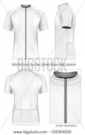 Men's short sleeve cycling jersey. Fully editable handmade mesh. Vector illustration.