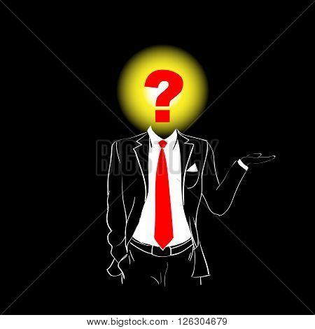 Man Silhouette Suit Red Tie Question Mark Sign Head Black Confusion Concept Background Contour Outline Vector Illustration
