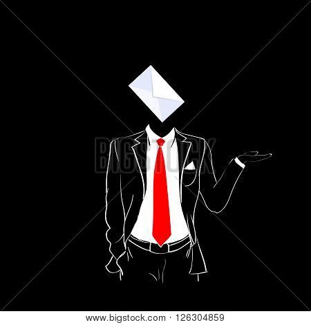 Man Silhouette Suit Red Tie Envelope E-mail Black Background Contour Outline Vector Illustration