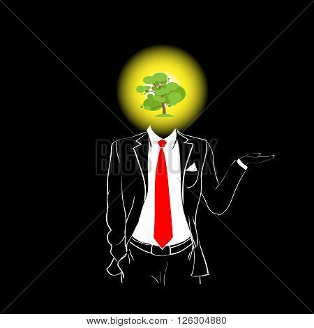 Man Silhouette Suit Red Tie Green Tree Head Concept Black Background Contour Outline Vector Illustration