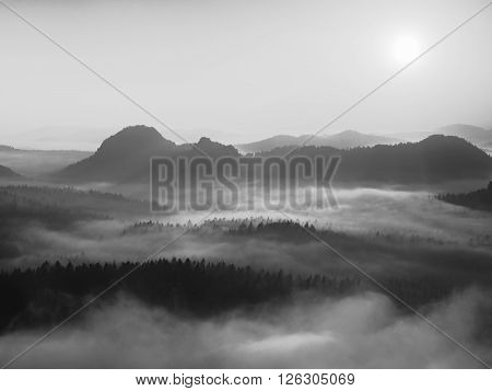 Autumn sunrise in a beautiful mountain within inversion. Peaks of hills increased from foggy background.