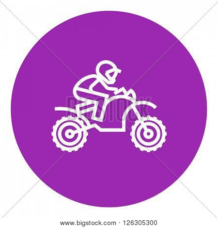 Man riding motocross bike line icon.