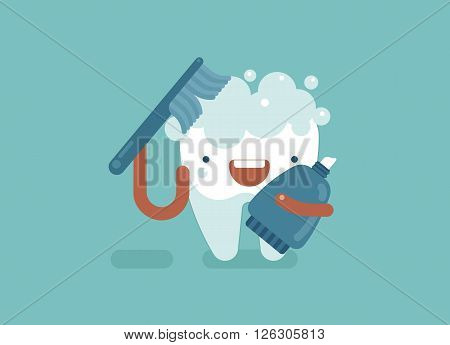 Brushing of tooth ,dental concept design eps10