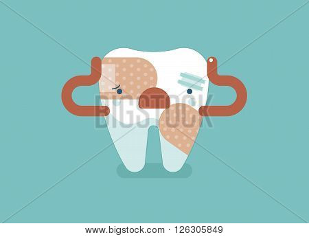 Toothache of tooth ,dental concept design eps10