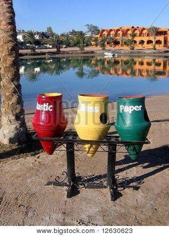 Sorting rubbish in Elgouna. Egypt