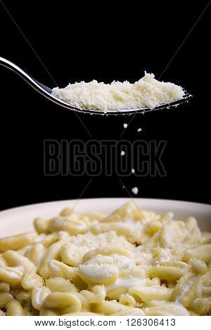 pasta gorgonzola and cream with fork and parmesan