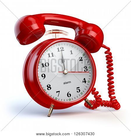 Alarm clock and telephone receiver. Support or 24 7 support concept. 3d illustration