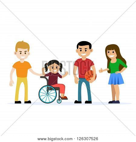 Disabled young girl in wheelchair with her friends having fun. Flat vector characters on isolated background. Concept for lifestyle, adaptation and opportunities for people with disability.