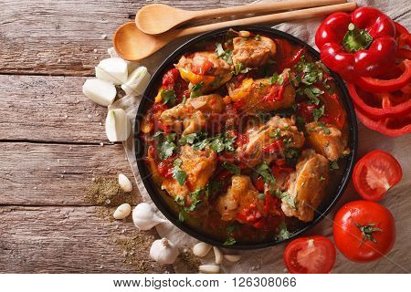 Chakhokhbili Chicken Stew With Vegetables On The Table. Horizontal Top View