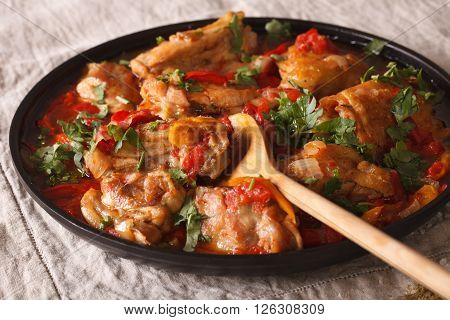 Chicken Stew With Vegetables And Spices - Chakhokhbili Close-up. Horizontal