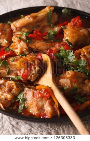 Chicken Stew With Vegetables And Spices - Chakhokhbili Close-up. Vertical