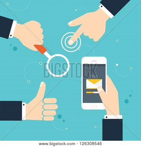 Hand gestures: using modern digital devices holding phone thump up holding loupe. Vector illustration.