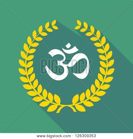 Long Shadow Laurel Wreath Icon With An Om Sign